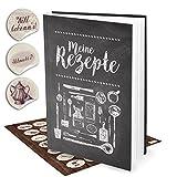 Geschenk-Set XXL Rezeptbuch zum Selberschreiben TAFEL-KREIDE-LOOK + 35 vintage Küchen-Sticker DIN A4 - Notizbuch zum Rezepte aufschreiben Kochbuch Geschenk-BUCH Weihnachten Geburtstag