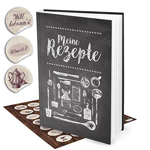 Cadeauset XXL receptenboek om zelf te schrijven, TAFEL-KRIJDE-LOOK + 35 vintage keukenstickers, DIN A4, notitieboek om recepten op te schrijven, kookboek, geschenkboek, Kerstmis, verjaardag