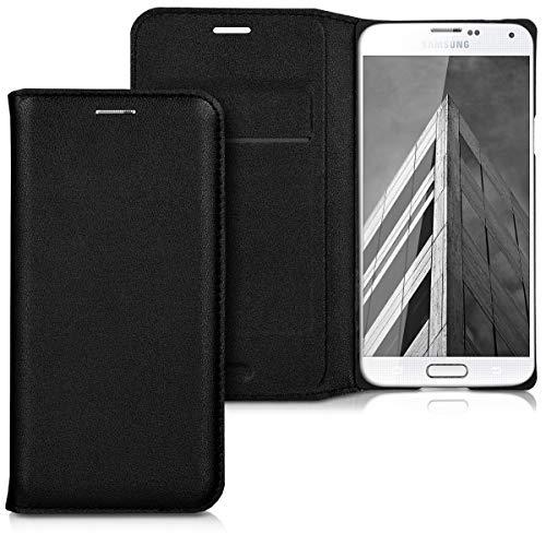 kwmobile Flip Hülle Hülle kompatibel mit Samsung Galaxy S5 Mini G800 - Aufklappbare Cover Schutzhülle Tasche in Schwarz