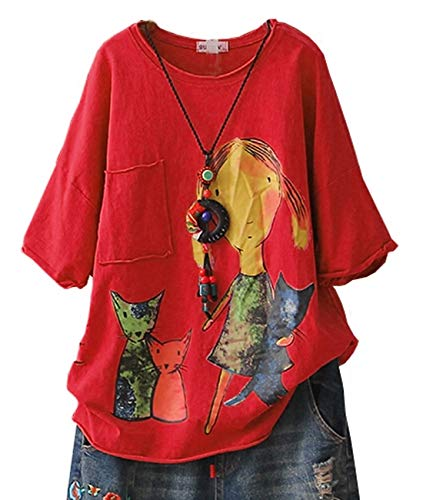 YESNO E78 Women Casual Loose Tee T-Shirts Tops Cartoon Printed Rolled Hem Ripped Short Sleeve Pocket (XL, E78 Red)