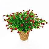 LERT Fiori di eucalipto Artificiali, Bouquet di Fiori di Piante Artificiali Verdi, Fiori Decorativi in plastica per Giardino/casa/Matrimonio/Festa, 4 Pezzi (Rosso)