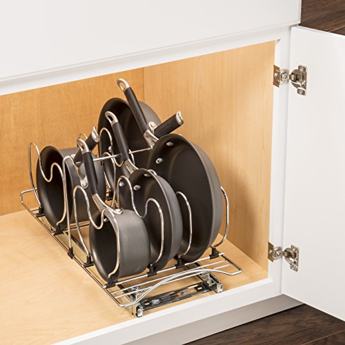 Lynk Professional Cookware Organizer Pull Out Sliding Cabinet Shelf, 11 wx 21 d x 10.9 h - inch, Chrome