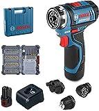 Bosch Professional 06019F600D Trapano Avvitatore GSR 12V-15 FC, FlexiClick System, con Attacco Mandrino GFA 12-B, 1 Batteria da 2.0 Ah, in Valigetta L-BOXX, 12 V, Blu