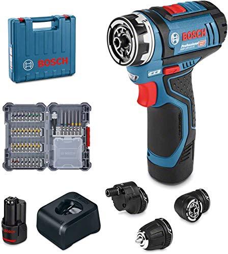 Bosch Professional 06019F600D Trapano Avvitatore GSR 12V-15 FC Batteria 1x2.0 Ah, Caricatore Rapido, 3x Attacchi Mandrino Portapunta, in Valigetta, Edizione Amazon, Set di 40 Pezzi