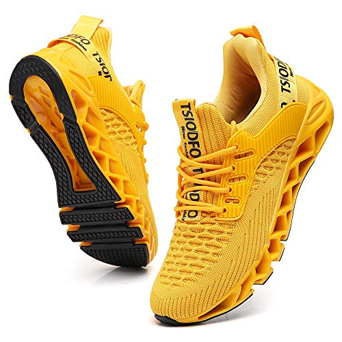 TSIODFO Slip on Sneakers for Women Casual Sport Running Shoes Athletic Train Tennis Walking Shoes Ladies Gym Workout Jogging Fashion Sneaker Yellow Size 12