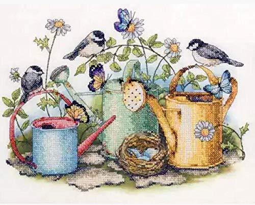 Kit aritmético de punto de cruz, nido de pájaro, mariposa, mariposa y riego, maceta, jardín, kit de punto de cruz, DIY DMC, kit de punto de cruz, aguja de bordado, 40 x 50 cm (lienzo preimpreso de 1