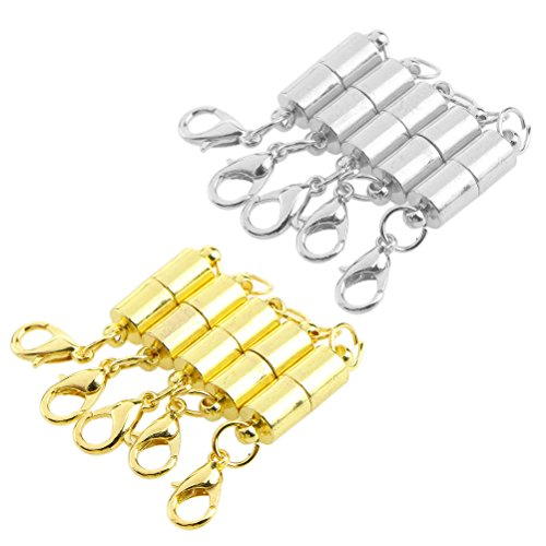 Healifty 10pcs Magnetic Jewelry Clasps Magnetic Lobster Clasps Findings for Jewelry Necklace Bracelet Silver and Gold