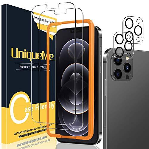 UniqueMe [2+2 Stück] Schutzfolie Kompatibel mit iPhone 12 Pro Max 6,7 Zoll Panzerglas mit Installationswerkzeug + iPhone 12 Pro Max 6,7 Zoll Kamera Panzerglas...