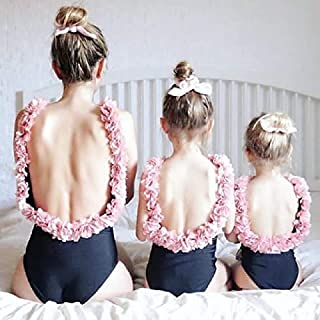 BEESCLOVER 3D Flower Strap Backless Mother Daughter Family Matching Swimwear Women Girl Floral One Piece Swimsuit High Quality