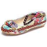 Minetom Vintage Flores Bordado Cómodo Casual Zapatos Bailarina Mary Jane Con Cuentas para Mujeres Flats Loafers Multicolor EU 39