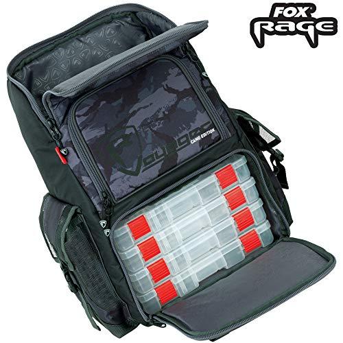 Fox Rage Camo Rucksack - Angelrucksack für Spinnangler, Kunstködertasche für Gummifische & Wobbler, Anglerrucksack, Backpack