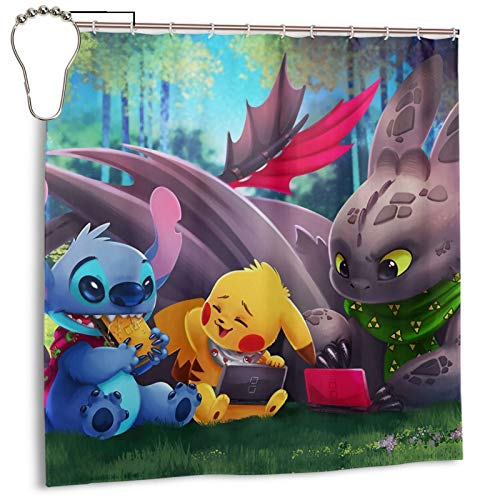 Stitch Pikachu Toothless Shower Curtains for Bathroom High-End Fabric Waterproof Shower Curtain Liner Decorative Bathroom Curtain 72x72in