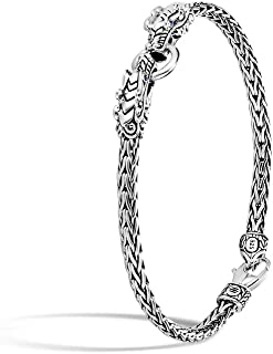 John Hardy Women's Legends Naga Silver Double Dragon Head Slim Chain Bracelet 3.5mm with Lobster Clasp with Blue Sapphire Eyes, Size M
