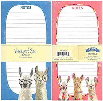 OCS Designs Whimsical Llamas Notepads Set of 2 Lined Notepads for Notes Tasks Reminders Grocery Shopping Market List To-Do s Assignments for Home Office or School