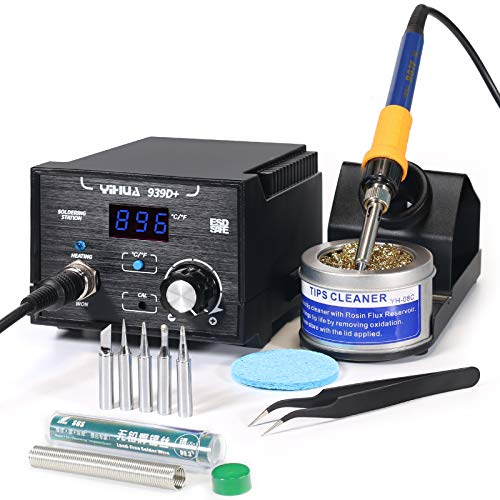 YIHUA 939D+ Digital Soldering Station, 75W Equivalent with Precision Heat Control (392°F to 896°F) and Built-in Transformer. ESD Safe, Lead Free with °C/°F display + 5 Solder Tips, Solder & 3 Extras