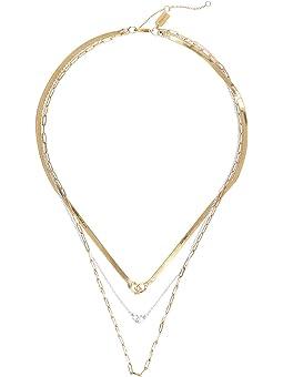 코치 목걸이 COACH Mix Chain Multi Row Necklace,Two-Tone