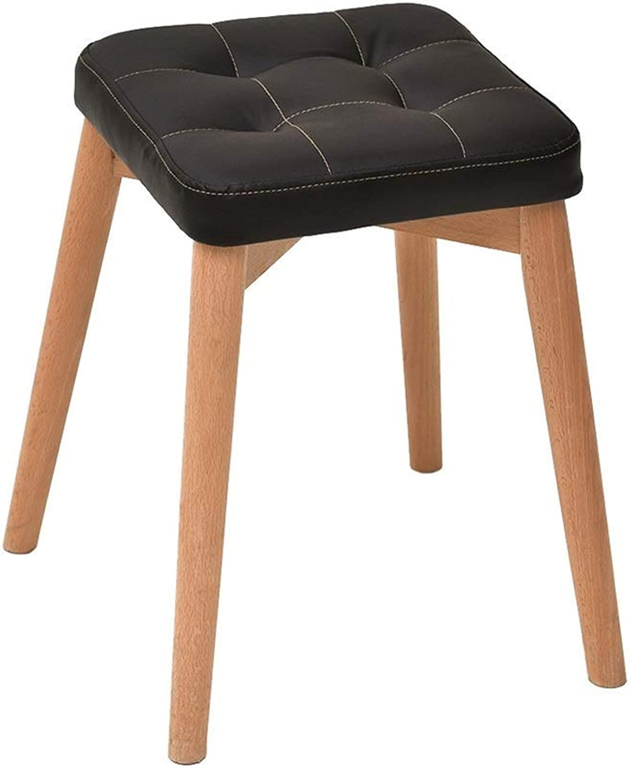 Stool Creative Fashion Bench Solid Wood Dressing Stool Chair for Kitchen Living Room Bathroom High Resilience Sponges Seat Nordic PU Upholstered HENGXIAO (color   Black)