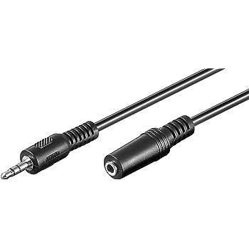 PremiumCord Verlängerung Klinkenkabel 3,5mm, Länge 2m, Klinke 3,5mm, Stecker auf Buchse, Aux Headset Audio Verlängerungskabel, geschirmt, Farbe schwarz