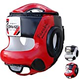 Farabi Boxing MMA Muay Thai Fitness Kick Boxing Head Guard Head Protector Helmet Front Bar (Red & Black, S/M)