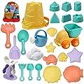 JOYIN 24 Pcs Beach Sand Toys Set with Mesh Bag Includes Sand Water Wheel, Sandbox Vehicle, Sand Molds, Bucket, Sand Shovel Tool Kits, Eco-Friendly Sand Toys for Toddlers Kids Outdoor Play