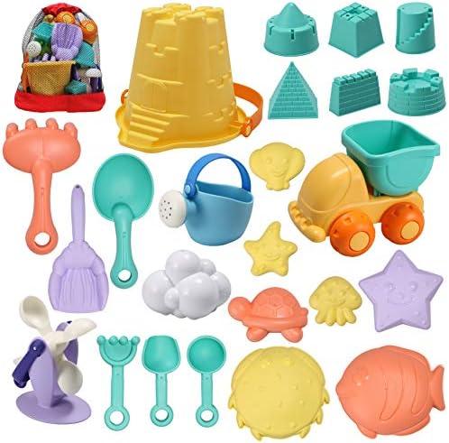 JOYIN 24 Pcs Beach Sand Toys Set with Mesh Bag Includes Sand Water Wheel Sandbox Vehicle Sand product image