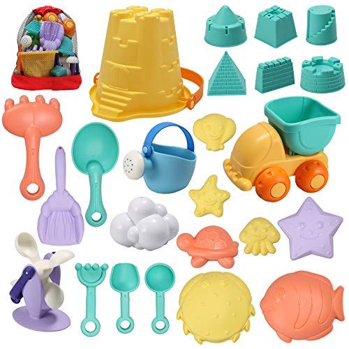 JOYIN Juego de 24 juguetes de arena de playa con bolsa de malla que incluye rueda de agua de arena.