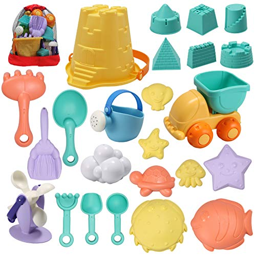 JOYIN 24 Pcs Beach Sand Toys Set with Mesh Bag Includes Sand Water Wheel, Sandbox Vehicle, Sand Molds, Bucket, Sand Shovel Tool Kits, Eco-Friendly Sand Toys for Toddlers Kids Outdoor Play