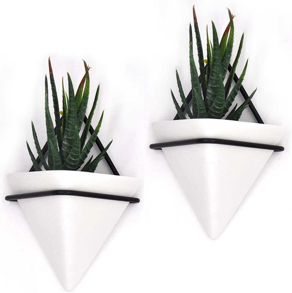 PUDDING Max 50% OFF CABIN 2 Pack Small Wall W Black-White Time sale Succulent Planters