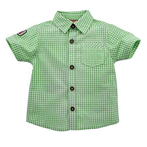 Alpenglück Baby-Trachtenhemd aus Baumwolle Gr. 80 I Schönes Jungen-Hemd in Grün-Weiß I Hemd Jungen, kariert I Kinderhemd aus Webware I Wunderschöne & Bequeme Kinderbekleidung