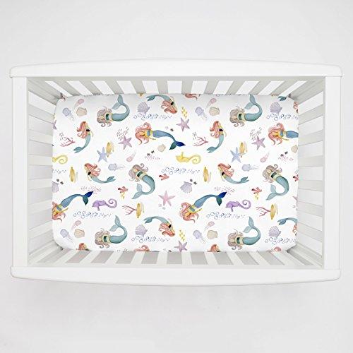 Carousel Designs Watercolor Mermaids Mini Crib Sheet - Organic 100% Cotton Fitted Mini Crib Sheet - Made in The USA