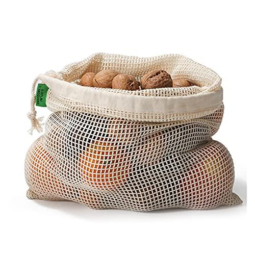 JR2021FF Baumwollnetz Gemüsebeutel Obst Gemüse mit Kordelzug Produzieren Tasche Wiederverwendbare Mesh Gemüse Aufbewahrungstasche (Number of Tiers : 28X43CM)