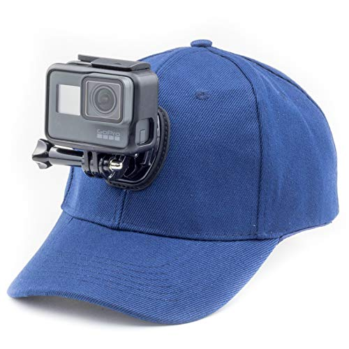 Digicharge Baseballkappe mit Action-Kamera-Halterung, kompatibel mit GoPro Hero Akaso Crosstour Campark Fitfort Garmin VIRB Apeman Sony Camkong Motorola Victure Kitvision Nikon Cam, blau