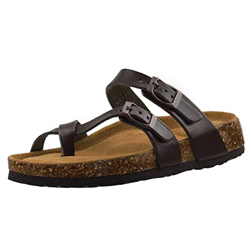 43ab0f2299064f VLLY Women s Synthetic Leather Flip-Flops Ring Open Toe Cork Sandals