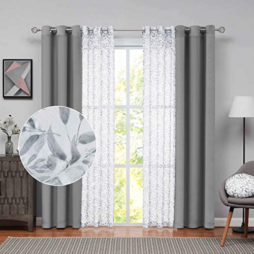 Nottingson Home Room Darkening Velvet Curtains for Bedroom 84 Inch Long Gray Mix&Match Extra Wide Curtains 4 Panels Farmhouse Leaf Sheer Curtain and Luxury Grey Curtain Living Room Drapes 40x84,36x84