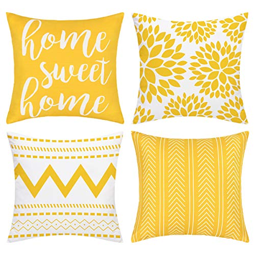 Alishomtll Geometric Throw Cushion Covers Set of 4 Decorative Pillowcases Home Sweet Pillow Covers Outdoor Cushion Covers for Couch Sofa (Yellow, 18 x 18 Inch)