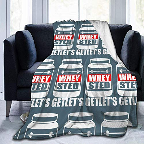 SOUL-RAY Let's Get Whey-Sted Funny Gym Bodybuilding Protein Mashup theme warm comfortable and fashionable in winter, keep warm, velvet blanket.50 * 40'