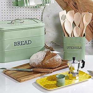 KitchenCraft Living Nostalgia Large Metal Bread Bin - Sage Green