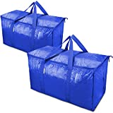 TICONN 2 Pack Extra Large Moving Bags with Zippers & Carrying Handles, Heavy-Duty Storage Tote for Space Saving Moving Storage (Blue)