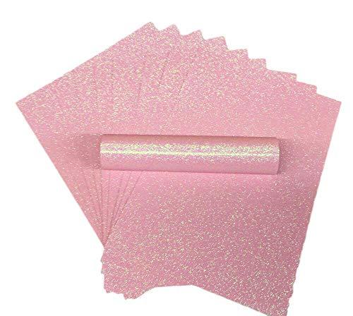 Glitzer papier, A4, schillernd, weiche Haptik, fusselfrei, dick (150 g/m²), hellrosa, 10 Blätter