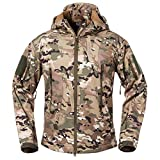 ReFire Gear Men's Soft Shell Military Tactical Jacket Outdoor Camouflage Hunting Fleece Hooded Coat Cp X-Large