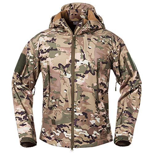 ReFire Gear Men's Soft Shell Military Tactical Jacket Outdoor Camouflage Hunting Fleece Hooded Coat Cp Medium