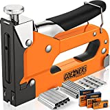 GOEHNER'S Staple Gun - 3 in 1 Heavy Duty Stapler with 3000 Staples, Pressure Adjustment Manual Staple Gun with Soft Rubber Handle for Upholstery, Wood, Crafts, Carpentry, Furniture,DIY etc