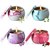 Scented Candles Gift set Mothers Day gifts for mom Women her wife girlfriend sister Birthday/Valentines Day/Christmas gifts,Portable Tin Jar Aromatherapy Soy Candles for Bath Yoga Travel 4x4.4oz