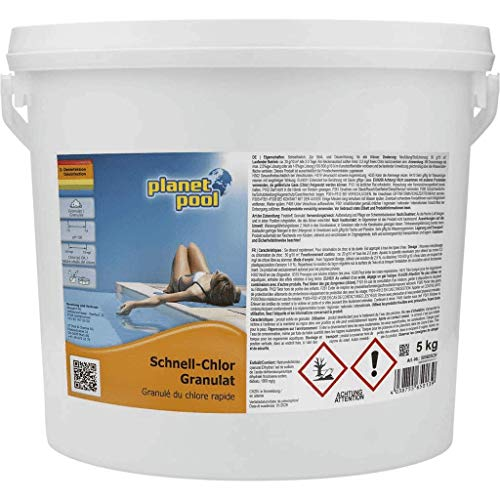 Planet Pool: Schnell-Chlor-Granulat für Pools | 5 kg | schnelllöslich | Pool Chlor Granulat organisch