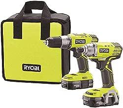 Ryobi P1832 18V One+ Handheld Drill/Driver and Impact Driver Kit (6 Piece Bundle, 1x P277 Drill / Driver, 1x P235 Impact Driver, 1x P118 Dual Chemistry Charger, 2x P102 18V Batteries, 1x Tool Bag)