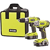 Ryobi P1832 18V One+ Handheld Drill/Driver and Impact Driver Kit (6 Piece Bundle, 1x P277 Drill / Driver, 1x P235 Impact Driver, 1x P118 Dual Chemistry Charger, 2x P102 18V Batteries, 1x Tool Bag)