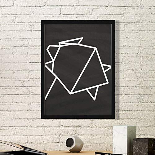 DIYthinker Resumen de Origami Tortuga Forma geométrica Arte Pintura Foto de la Imagen del rectángulo de Madera del hogar del Marco Regalo decoración de la Pared Pequeña Negro