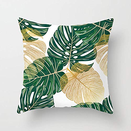 U/N Green Tropical Cushion Cover Palm Banana Leaves Tree Sofa Pillow Cases Bedroom Home Decor Car Office Decorative Accessories 45×45cm-16