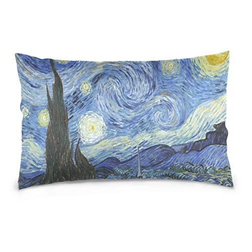 Linomo, federa per cuscino da 50,8 x 76,2 cm, motivo Van Gogh, decorazione per divano, letto, casa