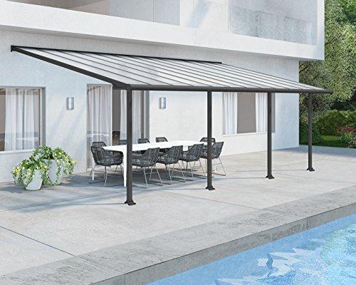 Palram Olympia Terrassenüberdachung 3x7 - Gestell aus Alumiuium & 16 mm Polycarbonat - Terrassendach Für den Ganzjährigen Gebrauch Geeignet, Grau, 739 x 295 x 305 cm, 739x295x305 cm
